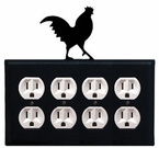 Quad Outlet Cover, Rooster, Wrought Iron