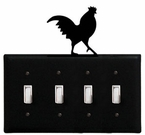 Quad Switch Cover, Rooster, Wrought Iron