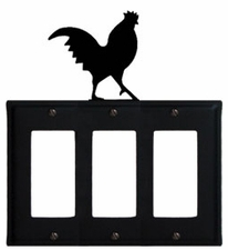 Triple GFI Cover, Rooster, Wrought Iron