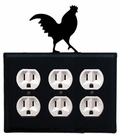 Triple Outlet Cover, Rooster, Wrought Iron
