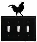 Triple Switch Cover, Rooster, Wrought Iron