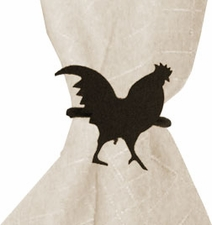 Napkin Ring, Wrought Iron, Rooster, Set of 4