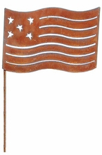 Lawn / Garden Stake, American Flag, Rusted, Large