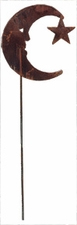 Lawn / Garden Stake, Moon & Star, Rusted, Natural