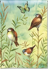 Garden Flag, Birds, Sanctuary Sparrows, Spring / Summer