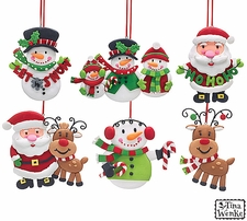 Santa Claus, Snowmen, & Reindeer, Clay Dough Christmas Ornaments