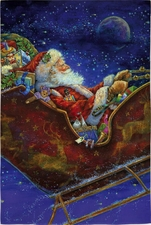 Garden Flag, Christmas, Santa Claus in Sleigh