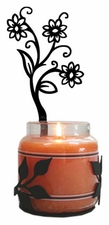 Wall Sconce, Candle Jar Holder, Shasta Daisy, Wrought Iron, Right