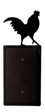 Single Electrical Cover, Rooster, Wrought Iron