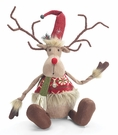 Sitting Reindeer Christmas Decoration, Bendable Antlers, Faux Suede