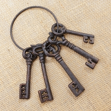 Skeleton Keys, Rustic Cast Iron, Set of 5