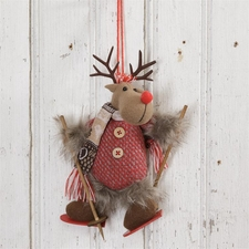 Skiing Reindeer Christmas Ornament, Winter Snow Lodge