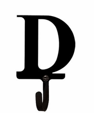 Wall Hook, Letter D, Alphabet, Wrought Iron