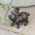 Small Rustic Flying Pig Figurine, Iron