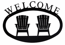 Welcome Sign, House Plaque, Adirondack Chairs, Wrought Iron, Small