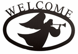 Welcome Sign, House Plaque, Angel, Wrought Iron, Small
