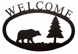 Welcome Sign, House Plaque, Bear, Pine Tree, Wrought Iron, Small
