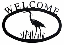 Welcome Sign, Blue Heron, Wrought Iron, Small