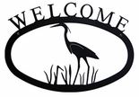 Welcome Sign, House Plaque, Blue Heron, Wrought Iron, Small