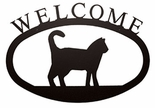 Welcome Sign, House Plaque, Cat, Wrought Iron, Small