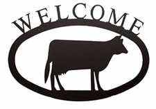 Welcome Sign, House Plaque, Cow, Wrought Iron, Small