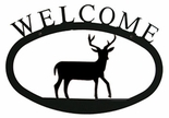 Welcome Sign, House Plaque, Deer, Wrought Iron, Small