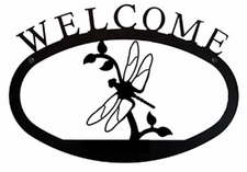 Welcome Sign, Dragonfly, Wrought Iron, Small