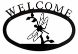 Welcome Sign, House Plaque, Dragonfly, Wrought Iron, Small