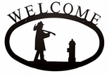 Welcome Sign, House Plaque, Fireman, Wrought Iron, Small