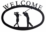 Welcome Sign, House Plaque, Golf Couple, Wrought Iron, Small