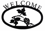 Welcome Sign, House Plaque, Grapevine, Wrought Iron, Small