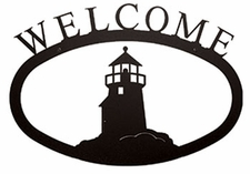 Welcome Sign, Lighthouse, Wrought Iron, Small