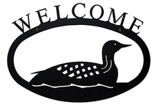 Welcome Sign, Loon, Duck, Wrought Iron, Small