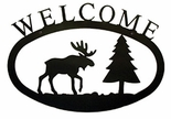 Welcome Sign, House Plaque, Moose, Pine Trees, Wrought Iron, Small