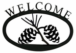 Welcome Sign, House Plaque, Pinecones, Wrought Iron, Small