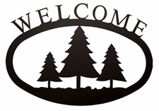 Welcome Sign, Pine Trees, Wrought Iron, Small
