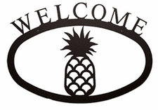 Welcome Sign, Pineapple, Wrought Iron, Small