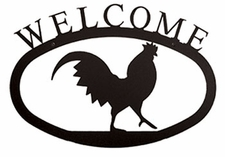 Welcome Sign, Rooster, Wrought Iron, Small
