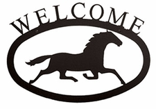 Welcome Sign, Running Horse, Wrought Iron, Small