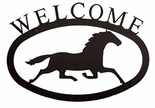 Welcome Sign, House Plaque, Running Horse, Wrought Iron, Small