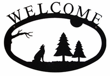 Welcome Sign, Timberwolf, Wrought Iron, Small