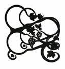 Wine Rack, Tabletop, 3 Bottle, Wrought Iron, Grapevine