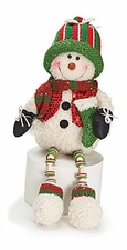 Snowman Shelf Sitter Plush Christmas Holiday Decoration, Knit Cap