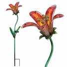 Solar Light, Garden Stake, Tiger Lily, Red