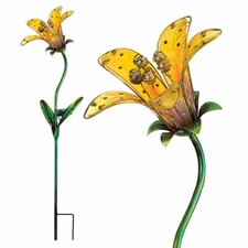 Solar Light, Garden Stake, Tiger Lily, Yellow