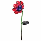 Solar Light, Mini Poppy Garden Stake, Red