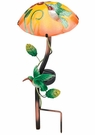 Solar Light, Garden Stake, Mushroom with Hummingbird