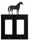 Double GFI Cover, Horse, Wrought Iron