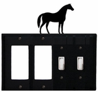 Double GFI & Double Switch Cover, Horse, Wrought Iron