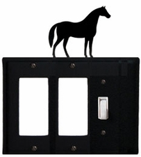 Double GFI and Switch Cover, Horse, Wrought Iron